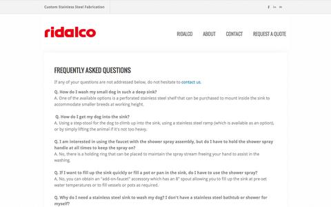 Screenshot of FAQ Page ridalco.com - RIDALCO | Dog Grooming Sinks FAQ - RIDALCO | Custom Stainless Steel Fabrication - captured Nov. 4, 2014