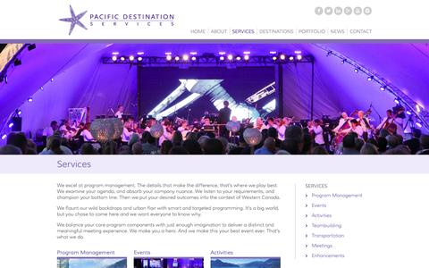 Screenshot of Services Page pacificdestinations.com - Destination Management Services & Event Planning | Pacific Destination Services - captured Oct. 1, 2014