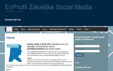Screenshot of Home Page saskiavliek.nl - Saskia Vliek - En Profil - zakelijke social media - captured Sept. 16, 2015