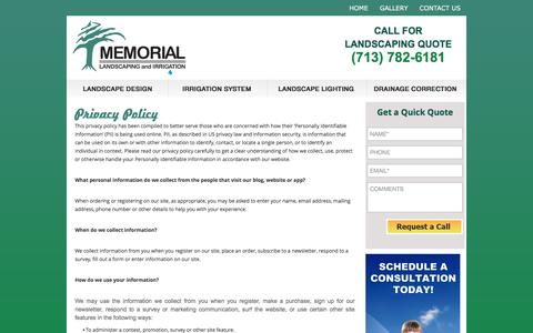 Screenshot of Privacy Page memoriallandscaping.com - Privacy Policy   Memorial Landscaping & Irrigation - captured Nov. 28, 2016