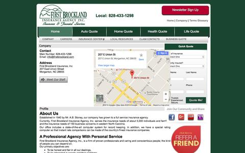 Screenshot of Contact Page firstbrockland.com - First Brockland Insurance, Inc - Content Pages - Company Information - Company - captured June 20, 2016