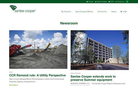 Screenshot of Press Page santeecooper.com - Newsroom - captured July 27, 2018