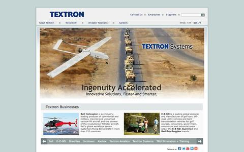 Screenshot of Home Page textron.com - Textron Home - captured Sept. 19, 2014