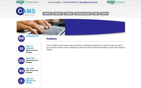 Screenshot of Products Page cams-ltd.com - Business Products - Sage 50 & 200 Line 100 & CRM CAMS 4 sage - captured Oct. 2, 2014