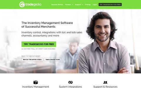 Screenshot of Home Page tradegecko.com - Inventory Management Software - TradeGecko - captured July 12, 2014