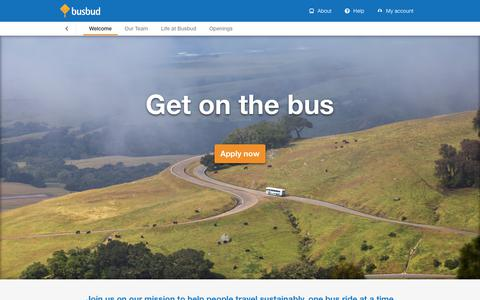 Screenshot of Jobs Page busbud.com - Welcome - captured July 9, 2019