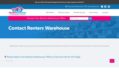 Screenshot of Contact Page renterswarehouse.com - Contact Headquarters | Rental Property Management | Renters Warehouse - captured July 20, 2017