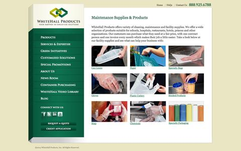 Screenshot of Products Page whitehall-products.com - Maintenance Supplies | Facility Supply Products | Whitehall Products - captured Oct. 26, 2014