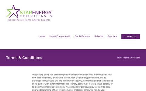 Screenshot of Terms Page mystarenergy.com - Terms & Conditions – Star Energy Consultants - captured Oct. 18, 2018
