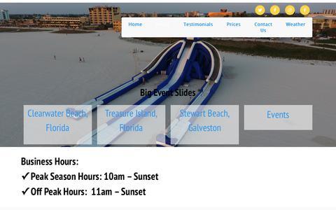 Screenshot of Hours Page bigeventslides.com - Hours - - captured Oct. 10, 2017