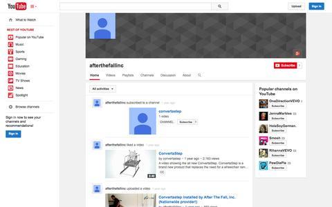 Screenshot of YouTube Page youtube.com - afterthefallinc  - YouTube - captured Oct. 25, 2014