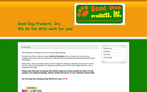 Screenshot of Products Page gooddogproductsinc.com - Dog Potty products including our pet park and pee wee dog toilets - captured Oct. 1, 2014