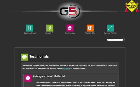 Screenshot of Testimonials Page gfive.net - Testimonials - captured Sept. 26, 2014