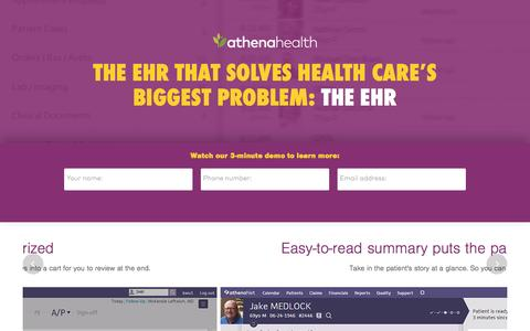 Screenshot of Landing Page athenahealth.com - Cloud-Based EHR and Practice Management Services | athenahealth - captured Dec. 11, 2015