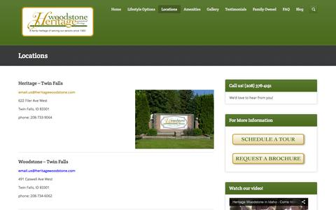 Screenshot of Locations Page heritagewoodstone.com - Heritage Woodstone Assisted Living Facilities - captured Oct. 2, 2014