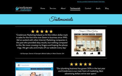 Screenshot of Testimonials Page creekmoremarketing.com - Testimonials - Creekmore Marketing & Web Design - captured July 22, 2018