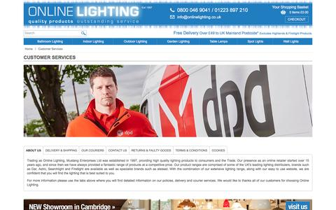 Screenshot of About Page Contact Page Terms Page onlinelighting.co.uk - Customer Services - Online Lighting - captured Nov. 29, 2016