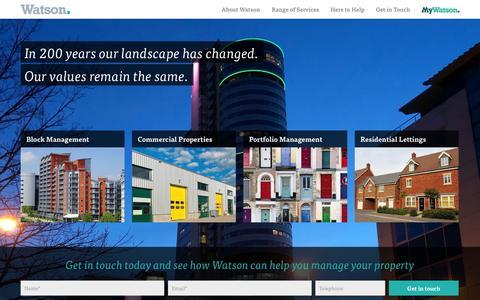 Screenshot of Home Page watsonpm.co.uk - Watson Property Management :: Home - captured Oct. 8, 2014