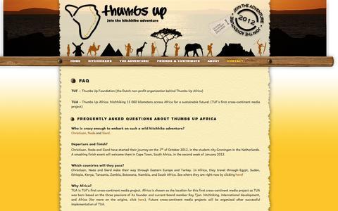 Screenshot of FAQ Page thumbsupafrica.org - Thumbs Up Africa - FAQ - captured March 3, 2016