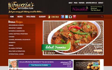 Screenshot of Home Page fauziaskitchenfun.com - Welcome to Fauzia's Kitchen Fun | Fauzia's Kitchen Fun - captured Sept. 24, 2014