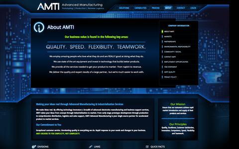 Screenshot of About Page advmanufacturing.com - AMTI - About AMTI - captured Oct. 4, 2014