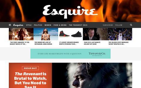 Screenshot of Home Page esquire.com - Esquire - Men's Fashion, Cocktails, Politics, Interviews, and Women - captured Dec. 24, 2015