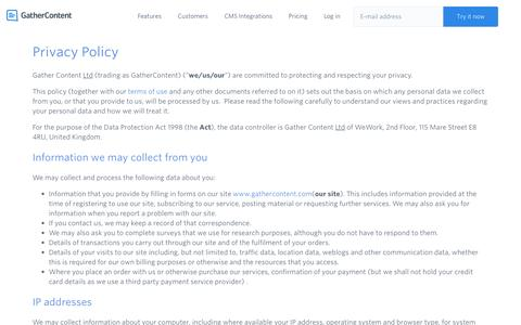 Screenshot of Privacy Page gathercontent.com - Privacy Policy – GatherContent - captured April 24, 2017