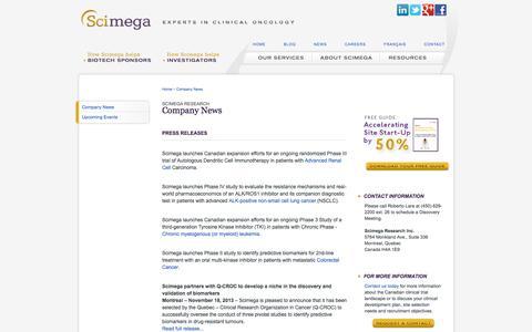 Screenshot of Press Page scimega.com - Oncology CRO News | Scimega - captured Oct. 4, 2014