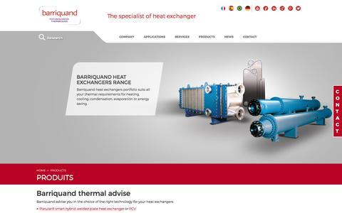 Screenshot of Products Page barriquand.com - Barriquand heat exchangers portfolio - captured Dec. 15, 2015