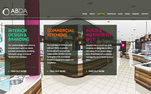 Screenshot of Services Page abdadesign.co.uk - Services | ABDA - Creative Design & Build - captured Oct. 4, 2014