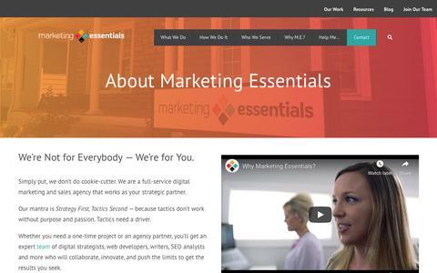Screenshot of About Page mktgessentials.com - About Us   Digital Marketing Agency   Marketing Essentials - captured Nov. 12, 2019