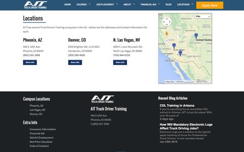 Screenshot of Locations Page ait-schools.com - AIT - Truck Driving School - captured Feb. 6, 2016