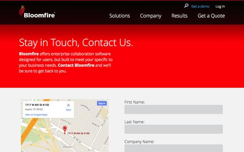 Screenshot of Contact Page bloomfire.com - Bloomfire | Contact Us - captured Sept. 13, 2014