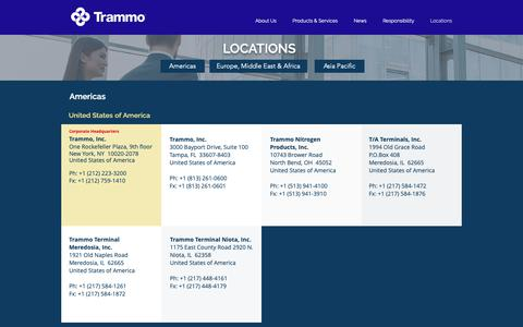 Screenshot of Locations Page trammo.com - Trammo | Locations - captured Nov. 16, 2018