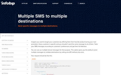 Multiple SMS to multiple destinations