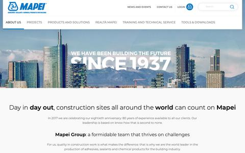 Screenshot of About Page mapei.com - Mapei - Our Goals & Values | About Us | Mapei - captured Oct. 16, 2018