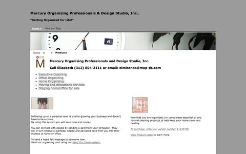 Screenshot of Products Page mop-ds.com - Mercury Organizing Professionals - captured Oct. 26, 2014