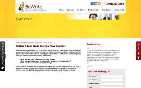 Screenshot of Case Studies Page bewrite.com.au - Writing a Case Study, Case Study Writing | BeWrite Copywriting - captured Nov. 13, 2018
