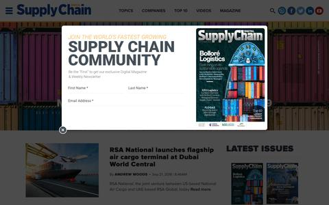 Screenshot of Home Page supplychaindigital.com - Supply Chain Digital - Supply Chain News, Magazine and Website - captured Sept. 23, 2018