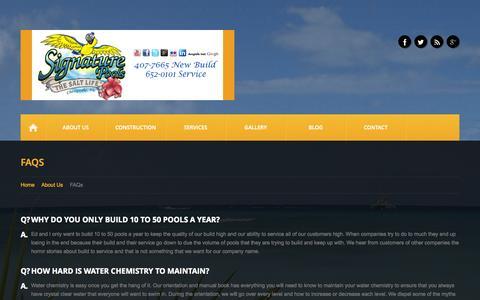 Screenshot of FAQ Page signaturepoolsonline.com - FAQs  |  Signature Pools - captured Oct. 7, 2014
