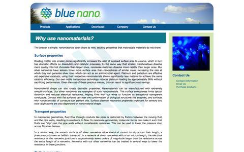 Screenshot of Products Page bluenanoinc.com - Blue Nano   Why use nanomaterials? - captured Oct. 5, 2014