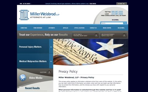 Screenshot of Privacy Page millerweisbrod.com - Privacy Policy | Miller Weisbrod, LLP - captured Oct. 27, 2014