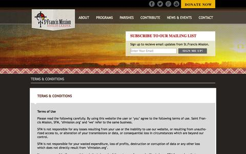Screenshot of Terms Page sfmission.org - St. Francis Mission | Terms & Conditions - captured Oct. 7, 2014