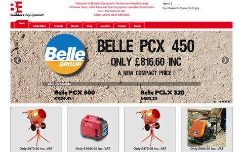 Screenshot of Home Page builders-equipment.co.uk - Builders Equipment Ltd Online Power Tool Retailer - captured Oct. 5, 2014