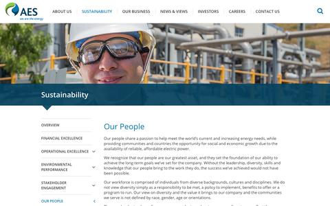 Screenshot of Team Page aes.com - The AES Corporation - Sustainability - Our People - captured Sept. 19, 2018