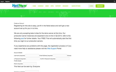 Screenshot of Signup Page netnow.co - Sign-Up • NetNow - captured Oct. 26, 2014