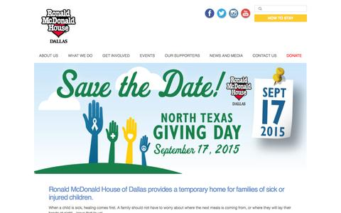 Screenshot of Home Page rmhdallas.org - | Ronald McDonald House of Dallas | The House That Love Built - captured Sept. 20, 2015