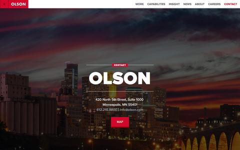 Screenshot of Contact Page olson.com - Careers, Offices & Contact Information | Olson Olson - captured Feb. 8, 2016