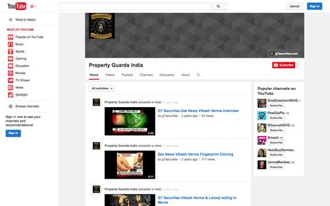 Screenshot of YouTube Page youtube.com - Property Guards India  - YouTube - captured Oct. 22, 2014