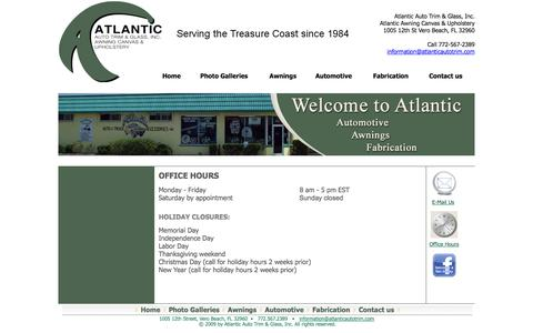 Screenshot of Hours Page atlanticautotrim.com - Office Hours - Serving the Treasure Coast since 1984 - captured Oct. 4, 2014